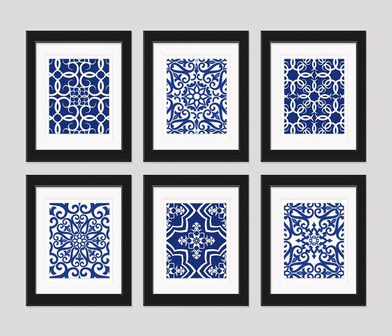 Navy Blue Art Blue White Wall Art Home Decor Set by