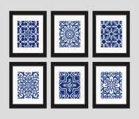 Navy Blue Art Blue White Wall Art Home Decor Set by