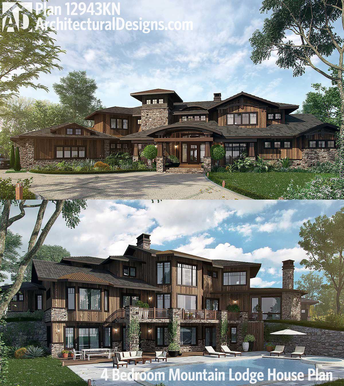 Plan 12943KN: 4 Bedroom Mountain Lodge House Plan