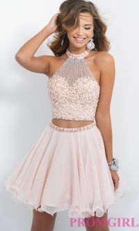 High-Neck Two-Piece Short Homecoming Dress by Blush | Prom ...