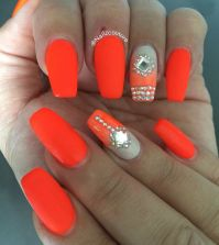 Orange neon nails | My nail art all hand painted ...
