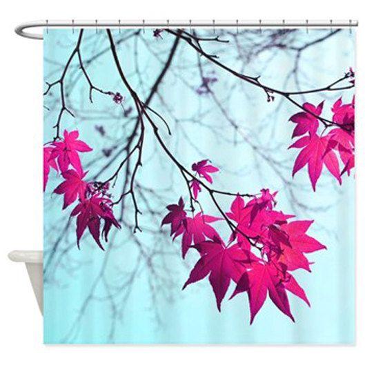 Aqua Shower Curtain Mint Blue Magenta Pink Bathroom Decor
