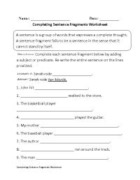 Completing Sentence Fragments Worksheet Beginner ...