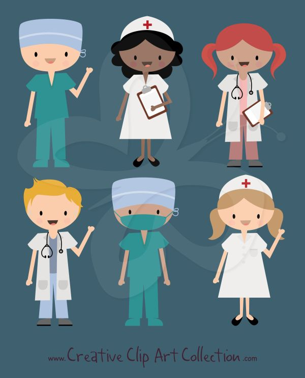 Cute Doctor Nurse And Surgeon In Scrubs Clipart Set