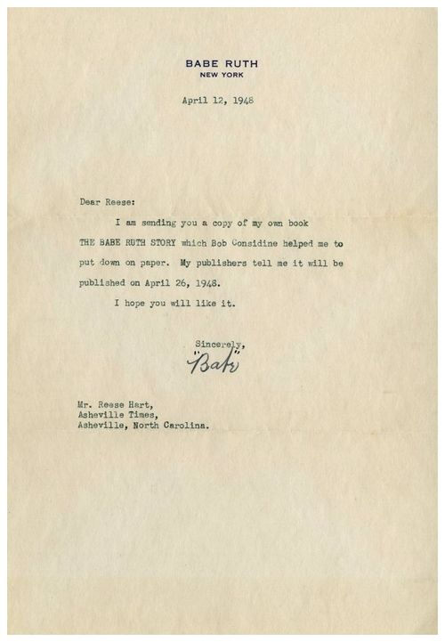 65 Years Ago Today In New York  Babe Ruths Letter To Reese Hart  April 12 1948  Heres a