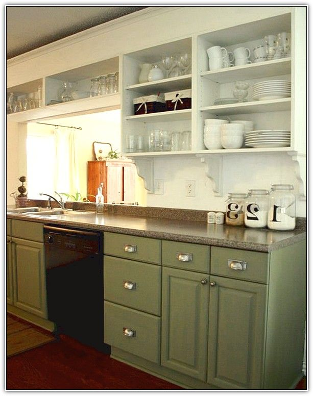 Upper Kitchen Cabinets Without Doors  For the Home