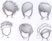 anime hair with hat drawing male