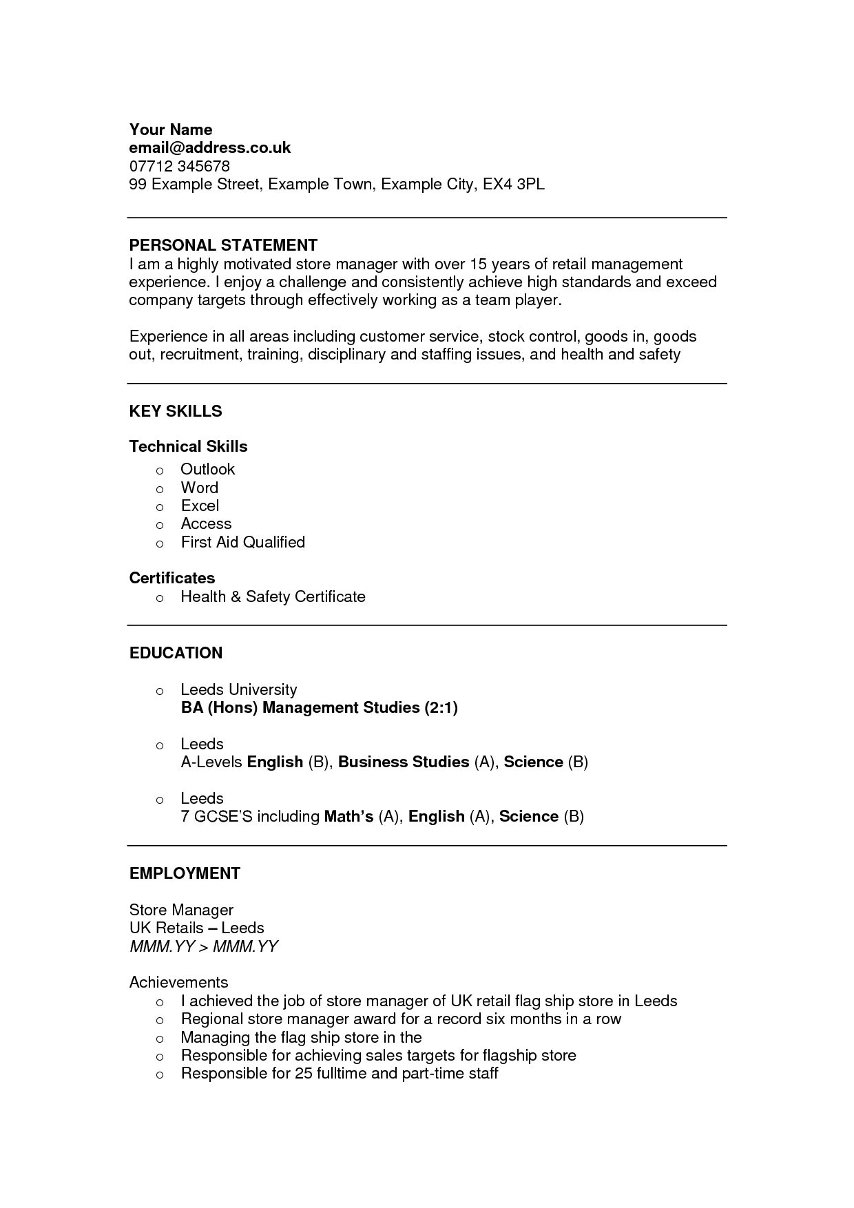 Cv Personal Statement For Part Time Job What Is A Personal