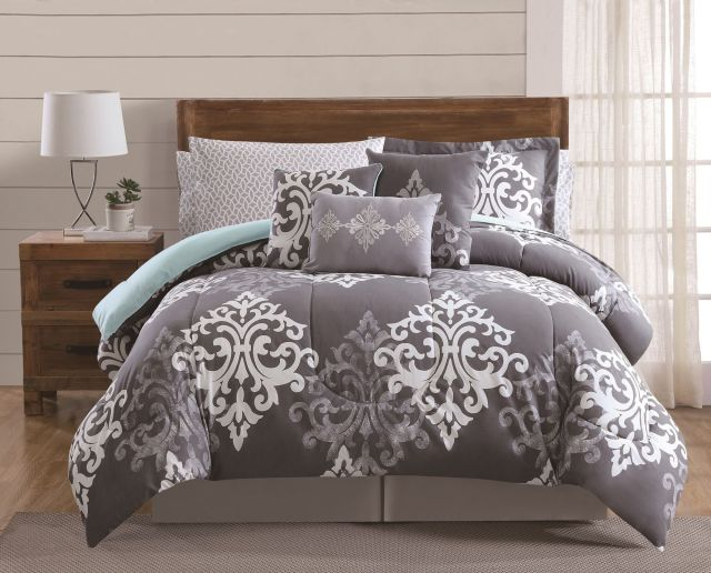 Fingerhut Textured Damask 12 Pc Bed Set Queen