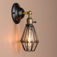 BLACK WALL LAMP VINTAGE INDUSTRIAL BIRD CAGE WALL LIGHT ...