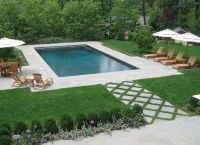 rectangular swimming pool as part of formal nj backyard ...