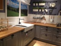 Ikea Gray Kitchen Cabinets with Butcher Block Counter Top ...