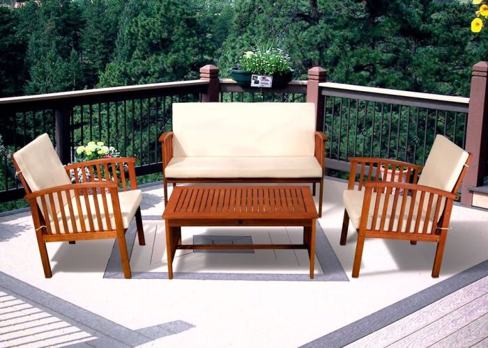 Casual outdoor patio furniture wood stained finish pc sofa seating set also
