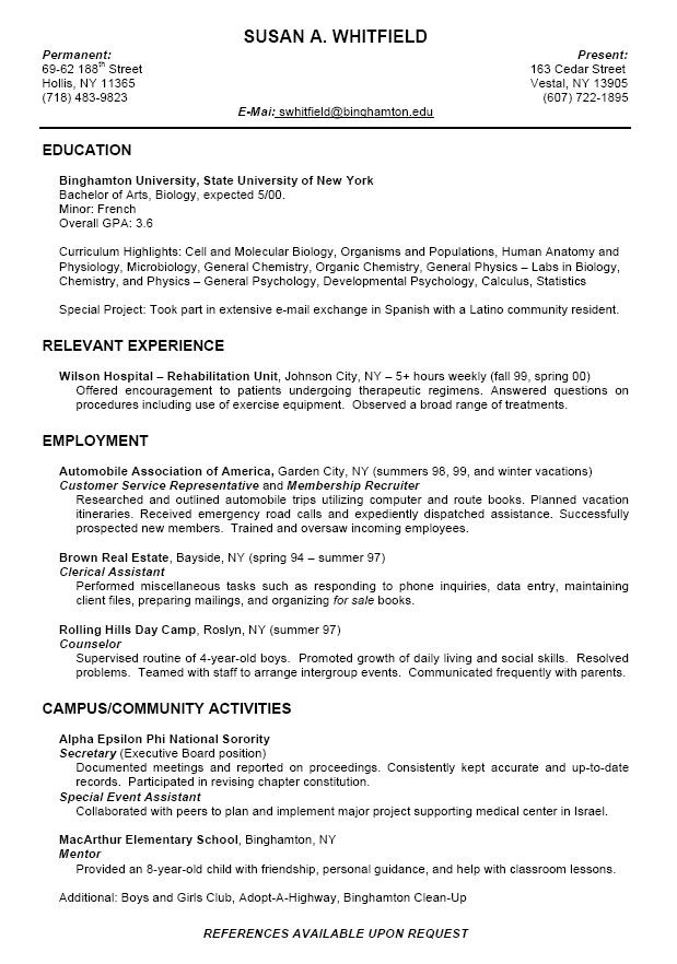 Sample High School Student Resume For College Application College