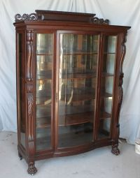 Large Antique Carved Oak China Curio Cabinet  original