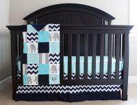 Aqua, Navy, Grey Baby Bedding, Custom Crib Bedding