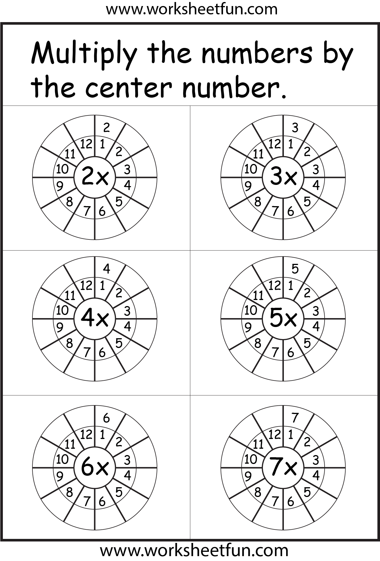 2 3 4 5 6 Amp 7 Times Tables Worksheets