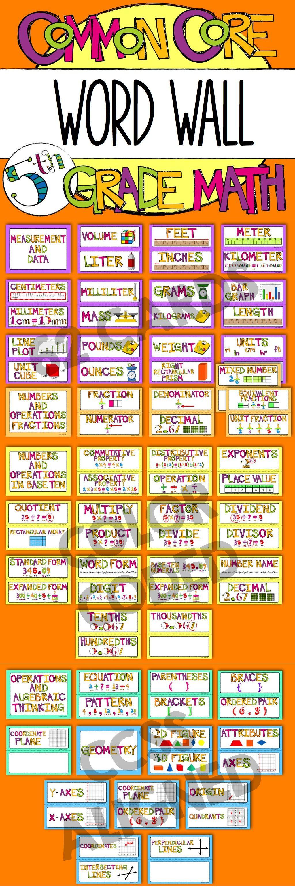 5th Grade Common Core Math Vocabulary