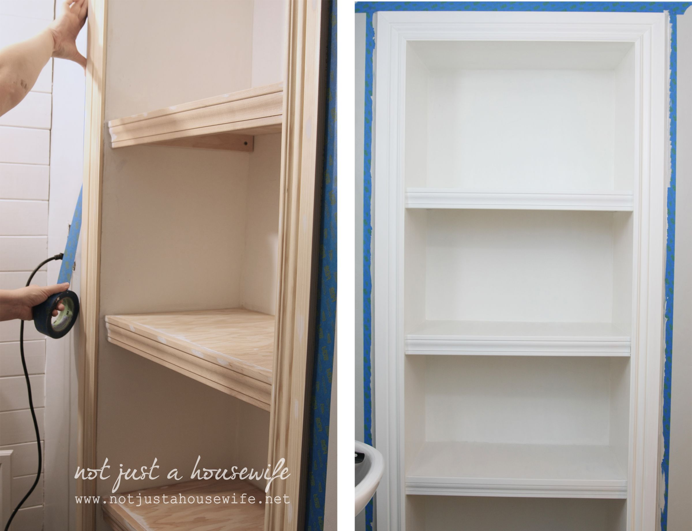 Painting The Finished Wall-inserted Bathroom Shelves