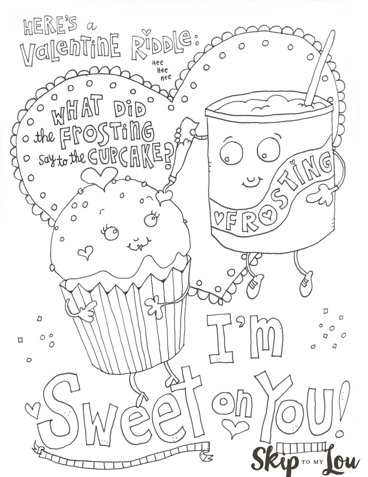 Free Printable Sweet on you Valentine Coloring Sheet. An