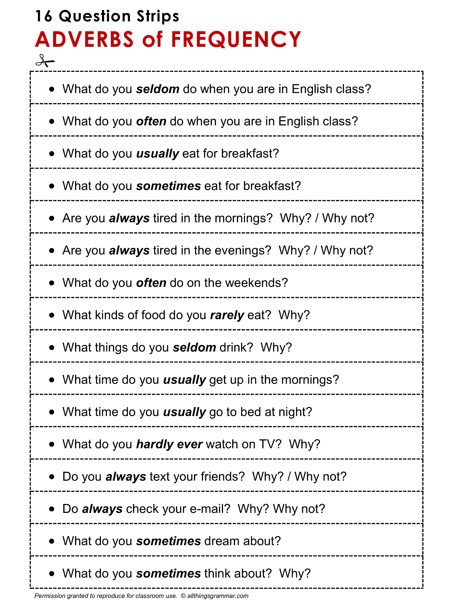 Worksheet With Adverbs Of Frequency