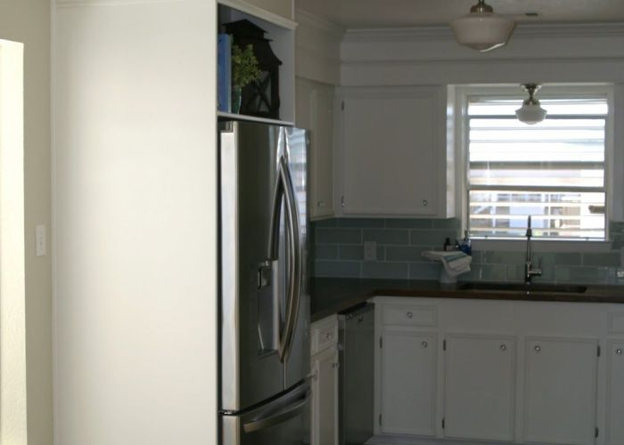 Small white kitchen with diy butcher block countertops glass also remodel
