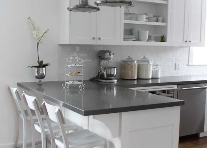 White cabinets subway tile quartz countertops also this is it chey