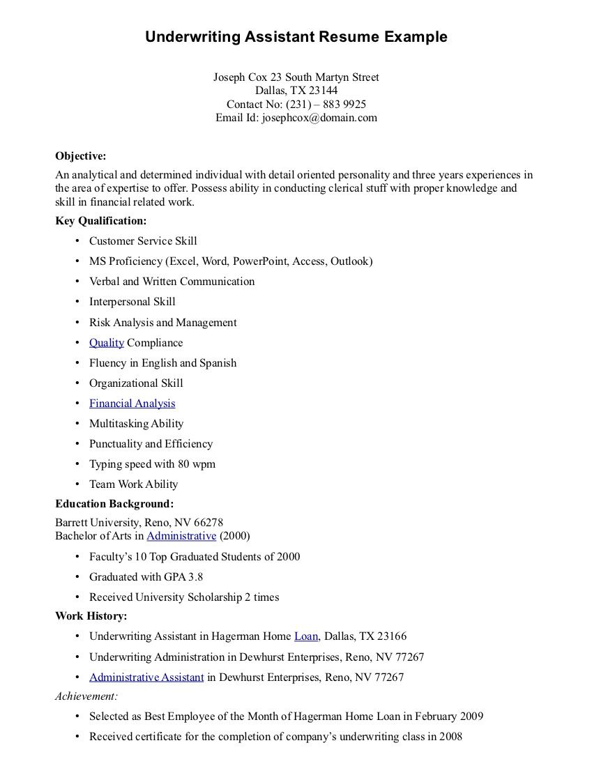 Underwriting Assistant Resume Underwriting Assistant Resume We