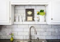 Large white subway marble kitchen backsplash tile with ...