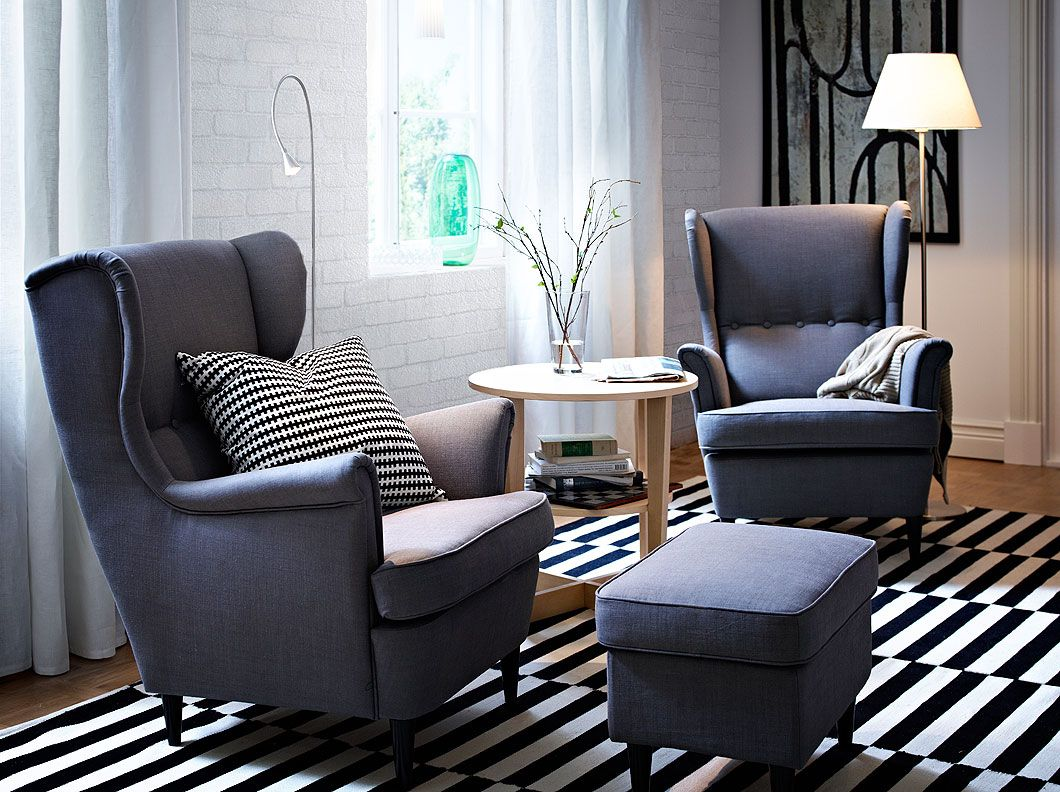 ikea reading chair how much is a ak rocker gaming strandmon wing chairs and footstool with svanby grey cover