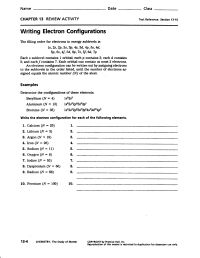 Electron Configuration Worksheet Answers Part A ...