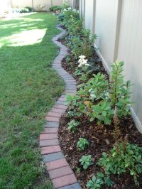 Brick edging  traditional 4 x 8 clay bricks create an ...