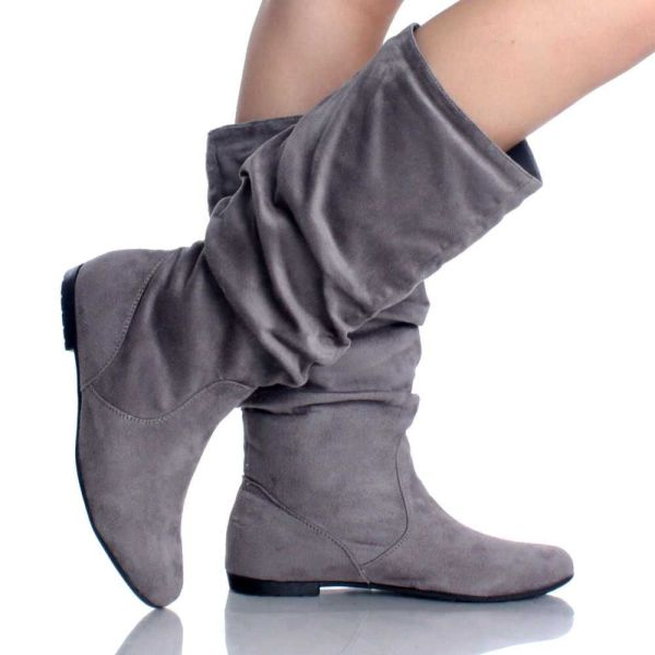 Gray Suede Slouch Scrunch Pull Casual Flat Womens Mid Calf Boots Fashion