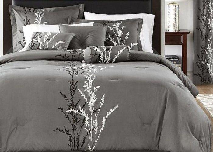 Ferron cotton reversible comforter set also grey and purple