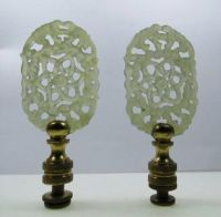 Vintage pair of carved celadon jade lamp finials (
