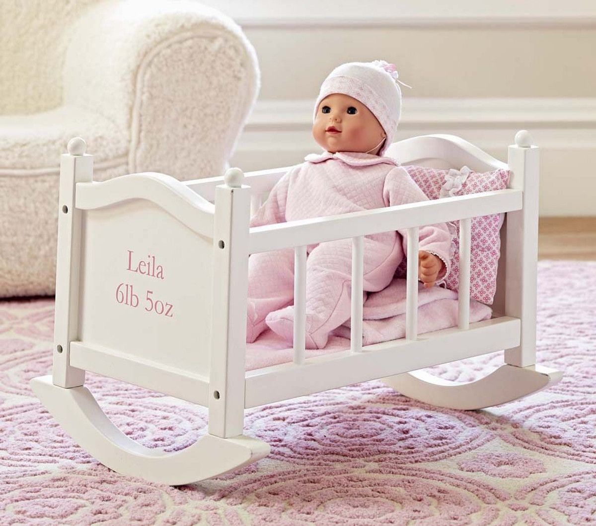 pottery barn kids doll high chair and a half slip cover baby cradle gifts for juno pinterest dolls