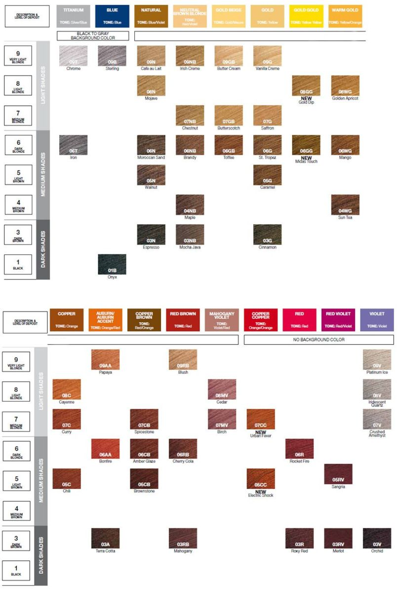 Redken Cover Fusion Hair Color Chart Zieview