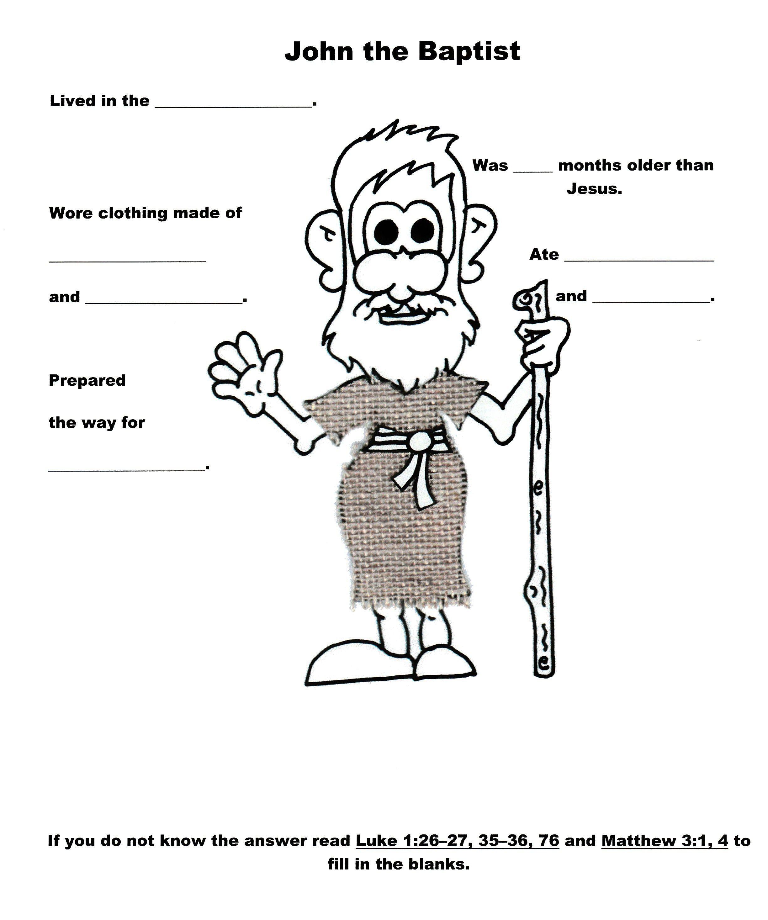 John The Baptist Worksheet