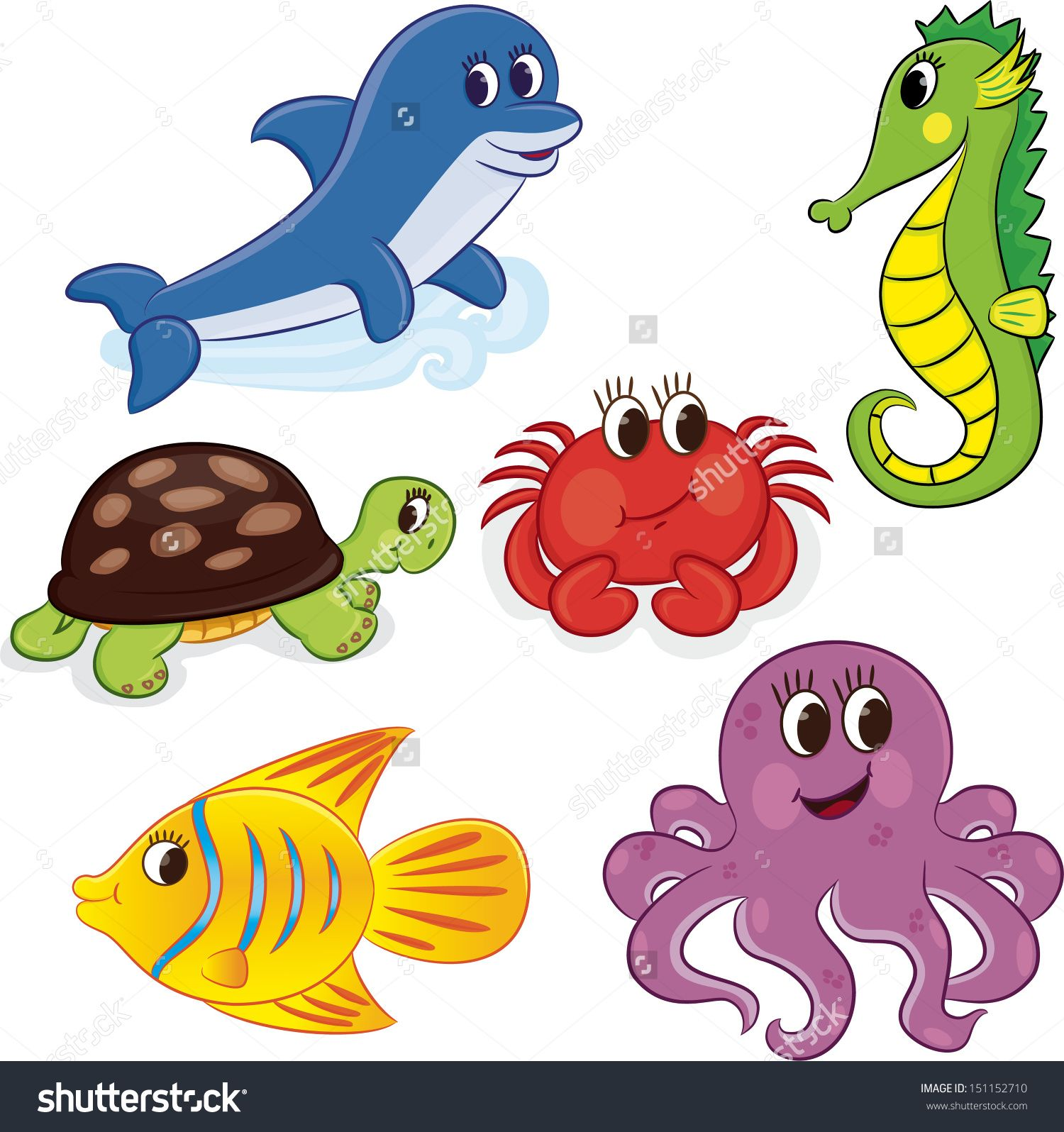 Set Of Cartoon Sea Animals Vector Illustration
