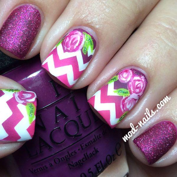 Matte Chevron And Roses Nail Art Skittle