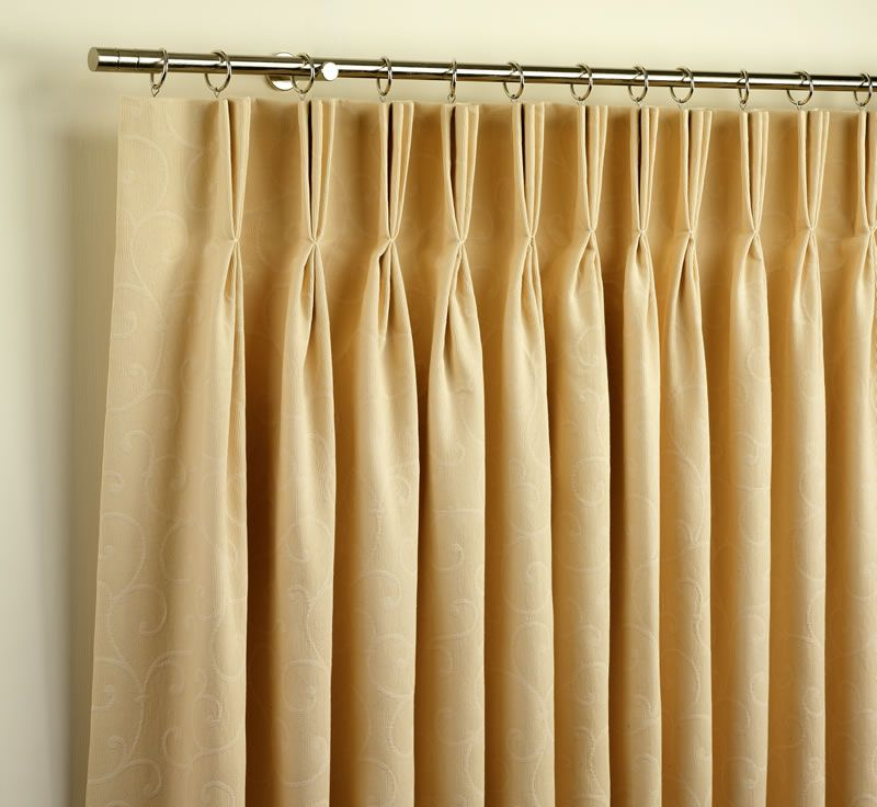 Triple Pinch Pleated Curtains With Rods And Rings Window