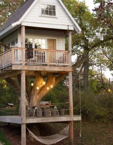 wanted  tree house so badly as kid but none of the trees in our back yard could support one if   ever lucky enough to have kids also home away from backyard ideas garden diy bbq hammock rh pinterest