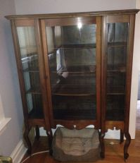 Large Antique Curio Cabinet! 6 Legs Beautiful Wood Curved ...