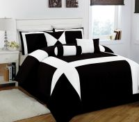11 Piece King Jefferson Black and White Bed in a Bag w ...
