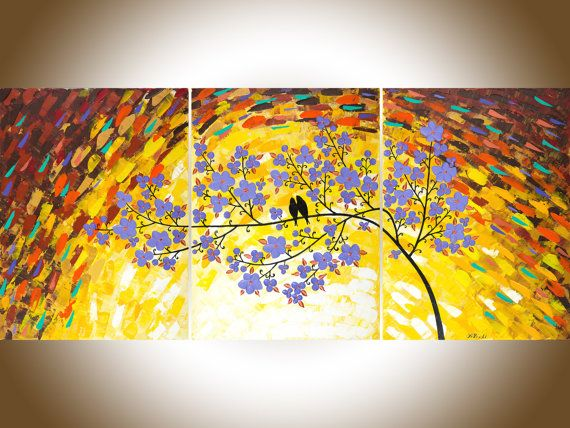 love birds acrylic painting wall decor art by qiqigallery also extra large purple flowers rh pinterest