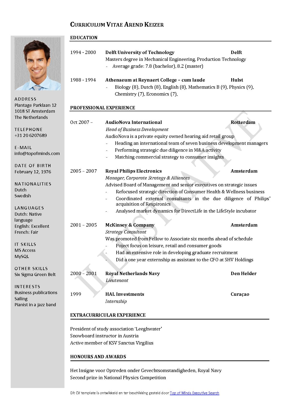 resume curriculum vitae example - Cvs Resume Example