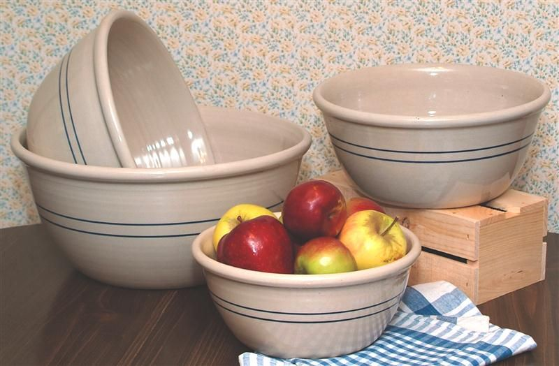 Heritage Blue Stripe Stoneware Mixing Bowls