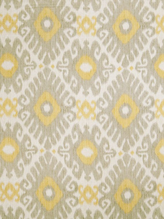 Lemon Yellow Grey Ikat Linen Upholstery Fabric Light Grey Ikat