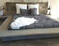 Weathered driftwood finish platform bed base ;CA King ...