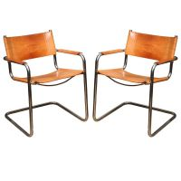 Pair of Tan Leather Marcel Breuer Chairs | Tan leather ...